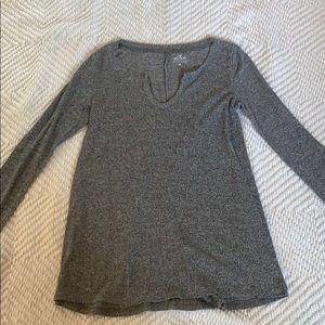 Ribbed Gray Sweater-Like Long Sleeve
